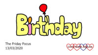 The word 'birthday' with the 'i' as a candle and a red balloon tied to the 'h'