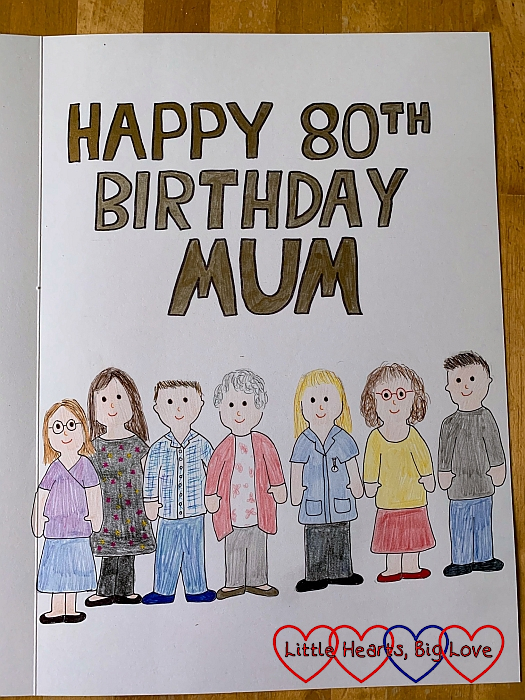 "A doodle of me, my mum and five of my siblings with ""Happy 80th Birthday Mum"" inside her birthday card"