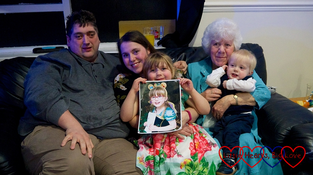 Hubby, me, Sophie (holding a picture of Jessica) and my mum with Thomas on her lap