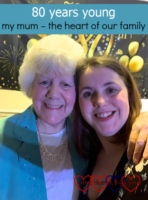 "Me and my mum at her 80th birthday party - ""80 years young: my mum - the heart of our family"""