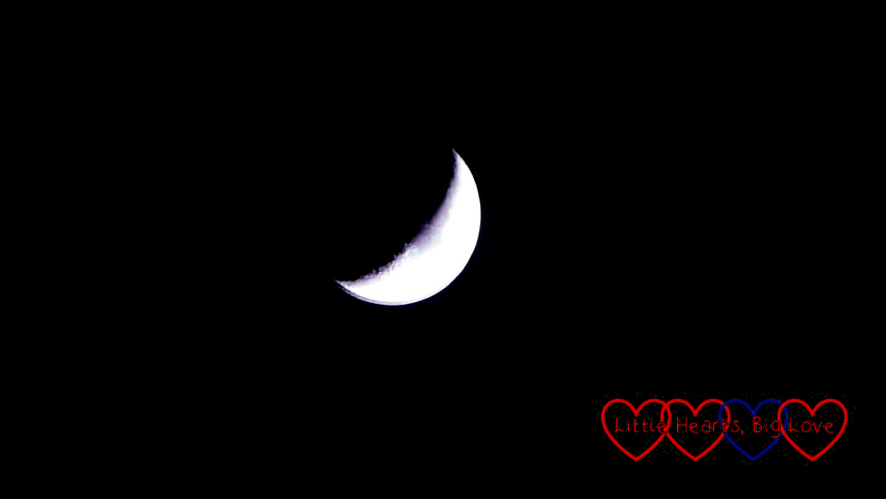 A crescent moon in the night sky