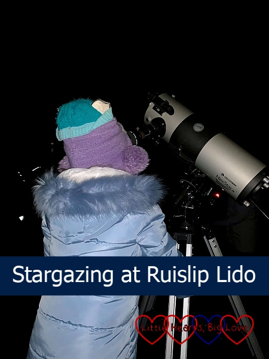 "Sophie looking through a telescope - ""Stargazing at Ruislip Lido"""