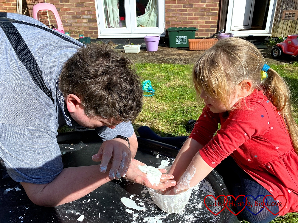 Daddy and Sophie playing with the oobleck