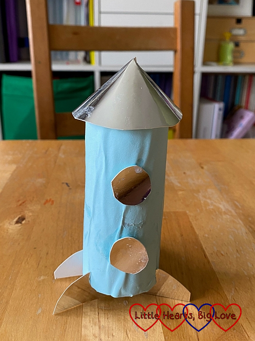 A rocket made from a toilet roll tube