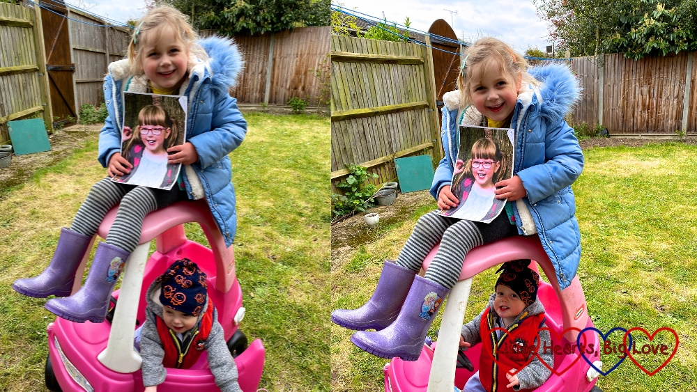 Two photos of Sophie holding a photo of Jessica and sitting on top of the Little Tikes car with Thomas sitting inside it