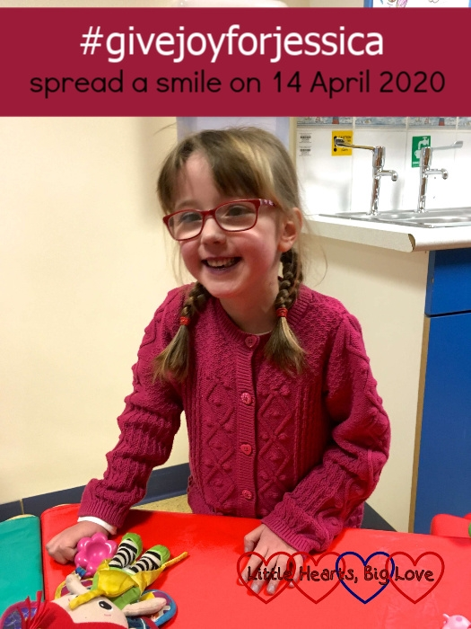 """A smiley Jessica in the playroom on the children's cardiac ward - """"#givejoyforjessica – spread a smile on 14 April 2020"""""""