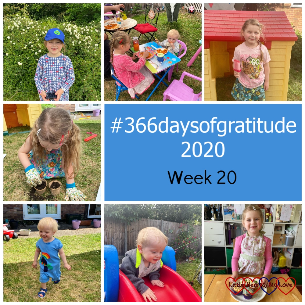 """Sophie out for a walk; Sophie and Thomas sitting at the little table in the garden, eating dinner; Sophie with her home-made ice lolly outside her house in the garden; Sophie planting sunflower seeds; Thomas wearing a short romper suit with a rainbow on and sandals; Thomas at the top of the slide in the garden; Sophie with her decorated cupcakes - """"366daysofgratitude 2020 - Week 20"""""""