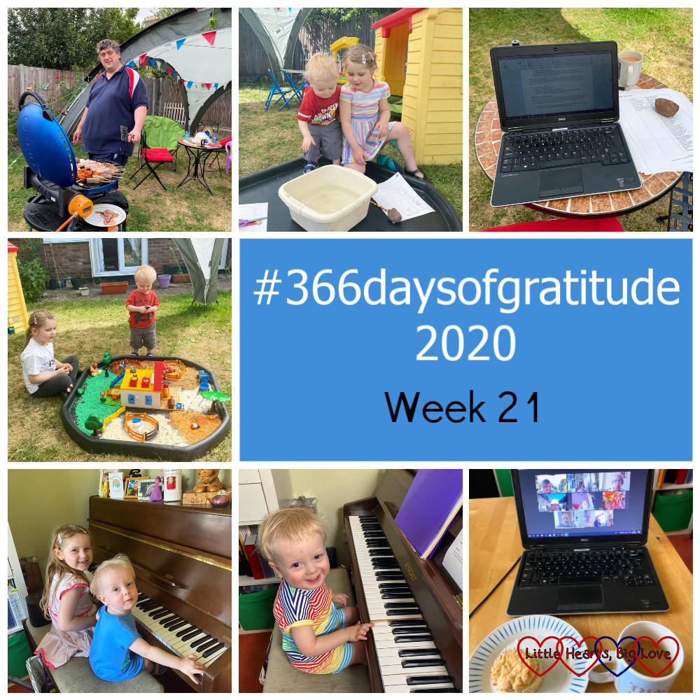 "My husband cooking over our gas barbecue; Thomas and Sophie dropping things into a bowl of water; my laptop on the table out in the garden; Sophie and Thomas playing with the Playmobil123 set up as a farm in the tuff tray; Sophie and Thomas at the piano together; a smiley Thomas at the piano; a cup of tea and a cheese scone in front of my laptop showing a Zoom video call - ""#366daysofgratitude 2020 - Week 21"""