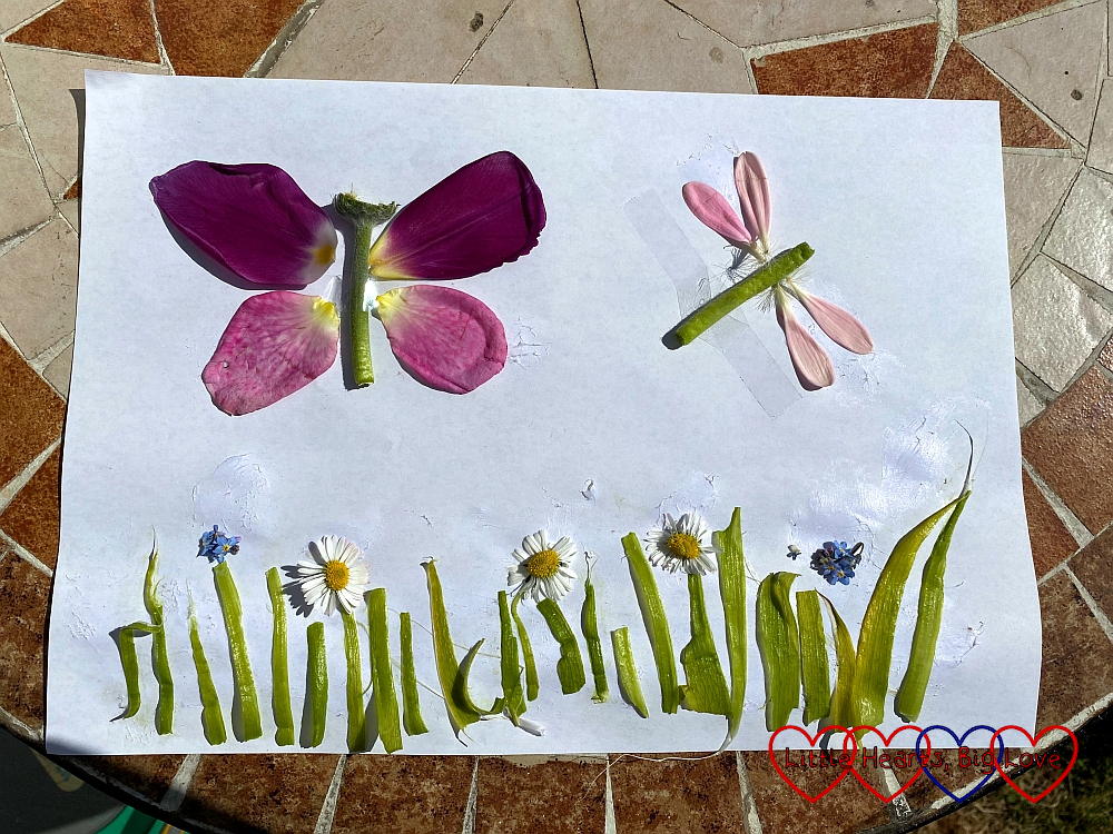 A picture of a butterfly and dragonfly flying over grass and flowers, made from leaves and petals.