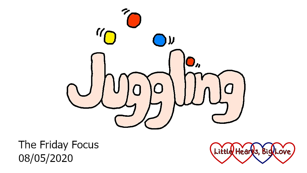 The word 'juggling' with three balls over the 'ugg'