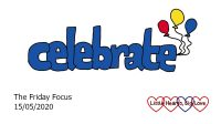 The word 'celebrate' in blue with red, yellow and blue balloons at the end