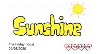 The word 'sunshine' with a sun above it