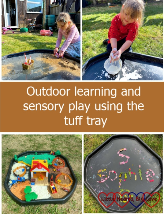 "(top l-r) Sophie recreating Columbus' voyage to the Americas in the tuff tray; Sophie playing with oobleck in the tuff tray; (bottom l-r) a small world farm set up in the tuff tray with coloured rice and cereals to make different areas; Sophie's name made using leaves and petals inside the tuff tray - ""Outdoor learning and sensory play using the tuff tray"""
