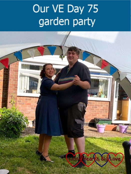 """Me and my husband dancing together in the garden - """"Our VE Day 75 garden party"""""""