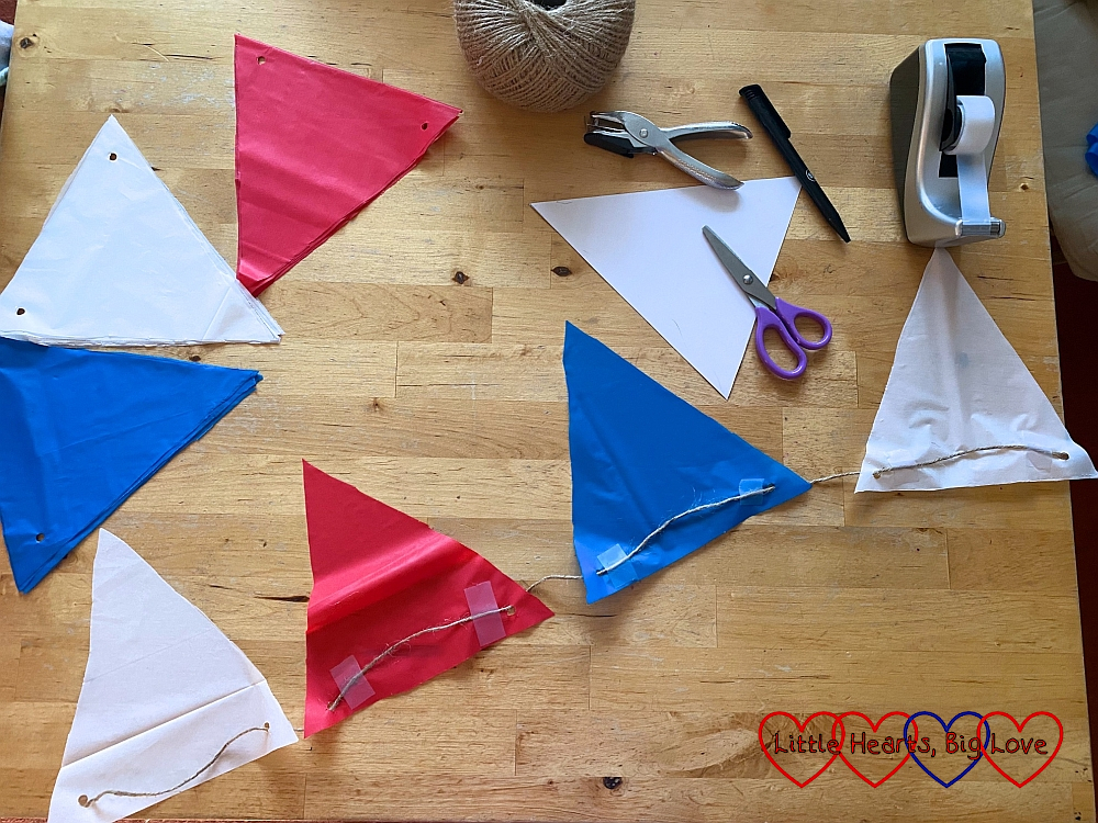 Red, white and blue bunting cut out on a table