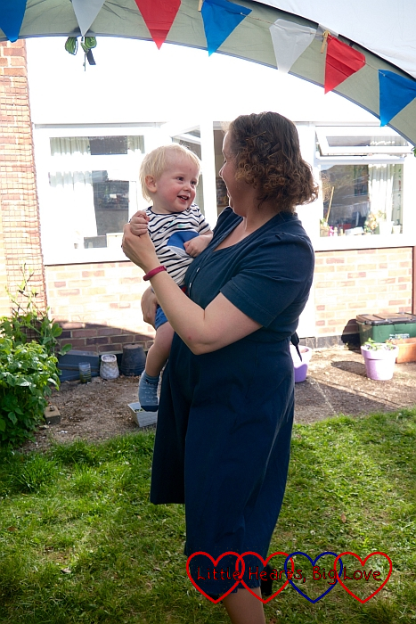 Me dancing with Thomas in the garden