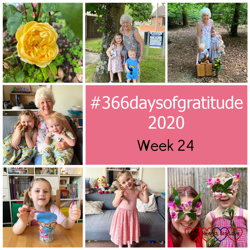 "A yellow Charlotte rose in the garden; my mum with Sophie and Thomas near her house; my mum with Sophie and Thomas at Jessica's forever bed; my mum sitting on the sofa with Sophie and Thomas; Sophie with the drum she made from a plastic pot; Sophie in a pretty pink lace dress; me and Sophie wearing nature masks - ""#366daysofgratitude 2020 - Week 24"""