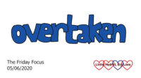 The word 'overtaken' in blue