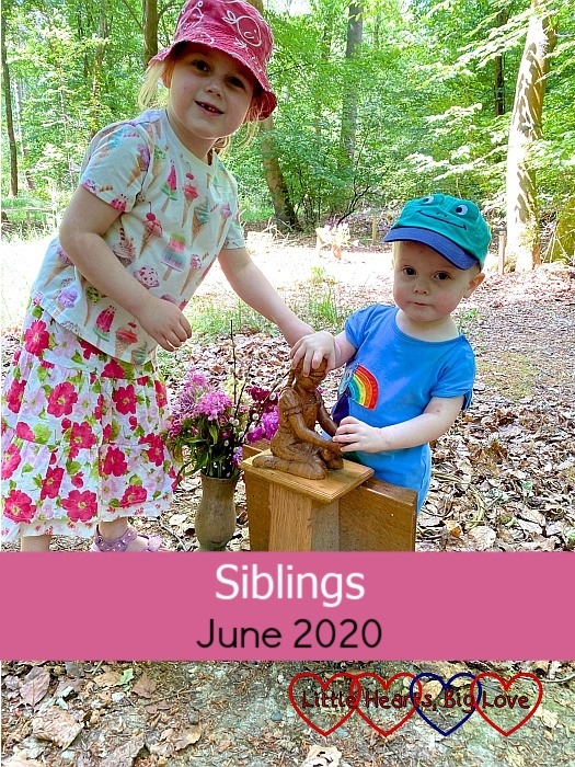 """Sophie and Thomas with the carving of Jessica at Jessica's forever bed - """"Siblings - June 2020"""""""