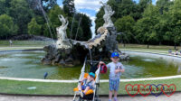 Sophie and Thomas in front of the Fountain of Love at Cliveden