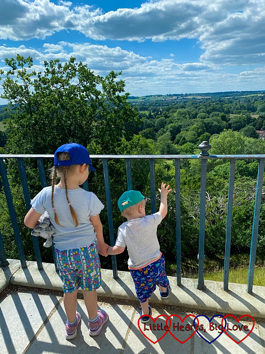 Sophie and Thomas admiring the view at Cliveden