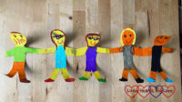 Sophie's paper doll family depicting Mummy, Daddy, Jessica, Sophie and Thomas