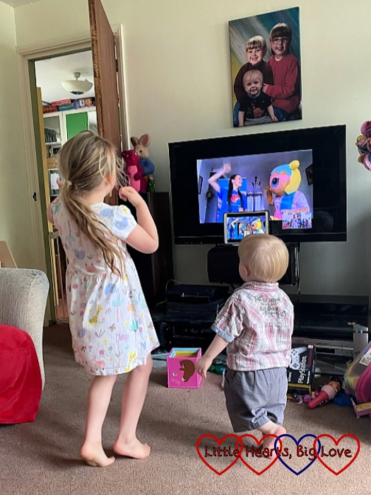 Sophie and Thomas joining in with the Little Hearts Matter virtual children's party
