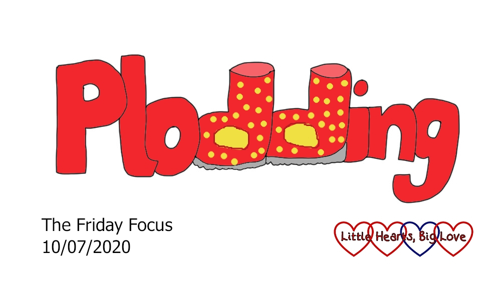 The word 'plodding' in red with red and yellow spotty boots as the 'dd' in the middle