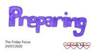 The word 'preparing' in purple
