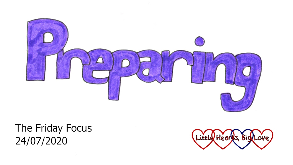 The word 'preparing' in purple