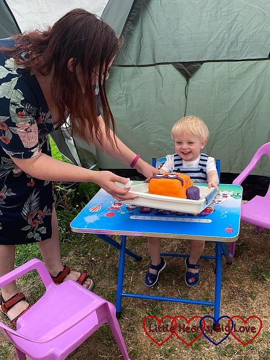 A very happy Thomas with his birthday cake