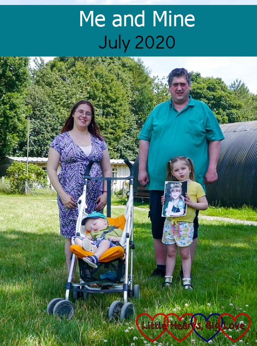 """Me, hubby, Thomas (asleep in the buggy) and Sophie (holding a photo of Jessica) at Chiltern Open Air Museum - """"Me and Mine - July 2020"""""""