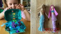 (left) Sophie with her ocean in an egg box; (right) two peg doll mermaids