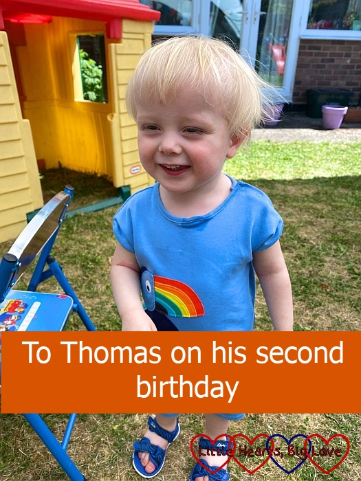 """A smiley Thomas out in the garden - """"To Thomas on his second birthday"""""""