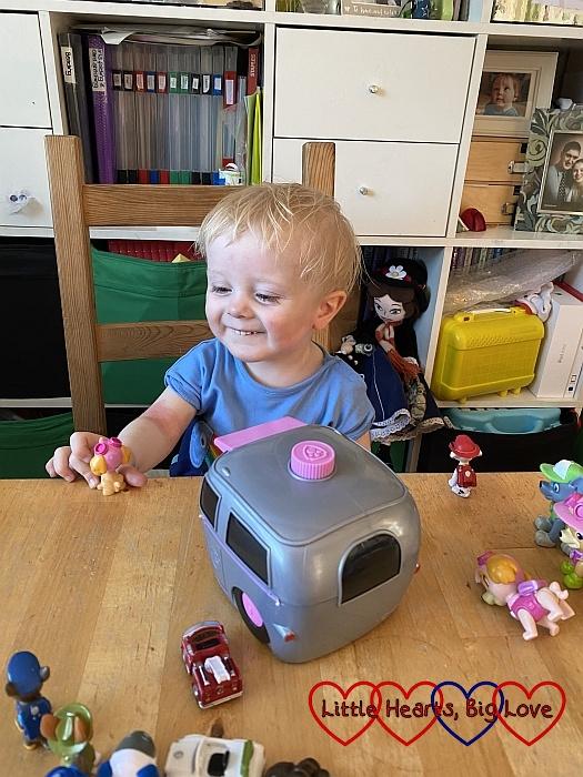 Thomas playing with PAW Patrol toys