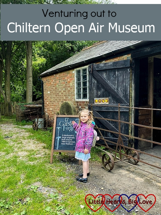 "Sophie outside the Garston Forge at Chiltern Open Air Museum - ""Venturing out to Chiltern Open Air Museum"""