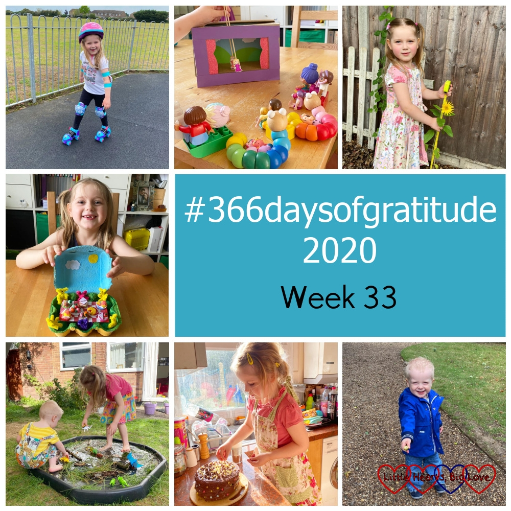 "Sophie on her roller-skates at the park; small toys lined up watching a show in Sophie's shoebox theatre; Sophie with her sunflower; Sophie with her teddy bears' picnic in an eggbox; Sophie and Thomas playing with toy dinosaurs in a tuff tray filled with bark, sticks, long grass and water; Sophie decorating a chocolate cake; a very happy Thomas holding an acorn in his hand - ""#366daysofgratitude 2020 - Week 33"""