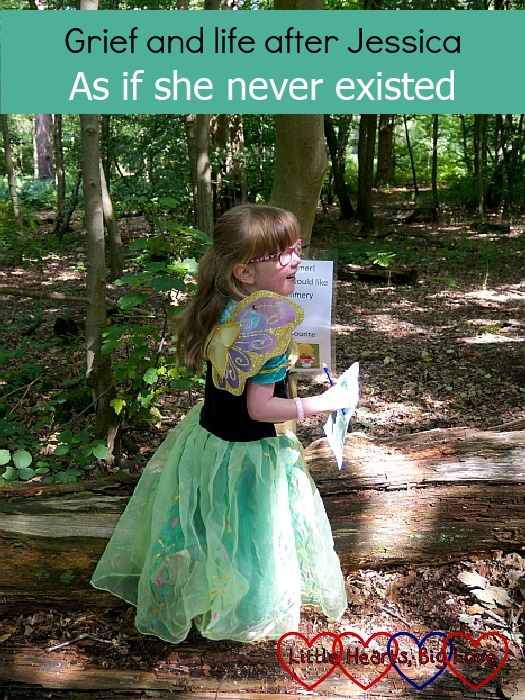 """Jessica wearing a fairy costume in the woods, facing sideways - """"Grief and life after Jessica: as if she never existed"""""""