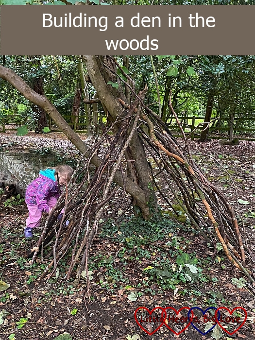 "Sophie adding sticks to her den - ""Building a den in the woods"""