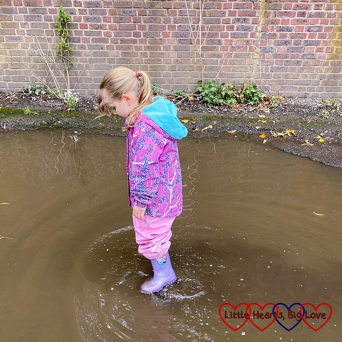 Sophie wading through a big puddle