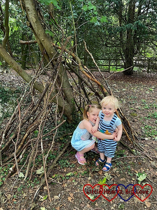Sophie and Thomas in the den Sophie made