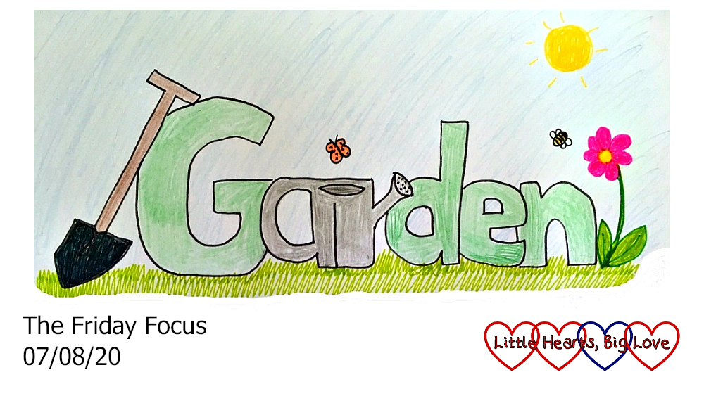 The word 'garden' as a doodle - the 'ar' is drawn in the shape of a watering can and there is a spade leaning against the 'G'