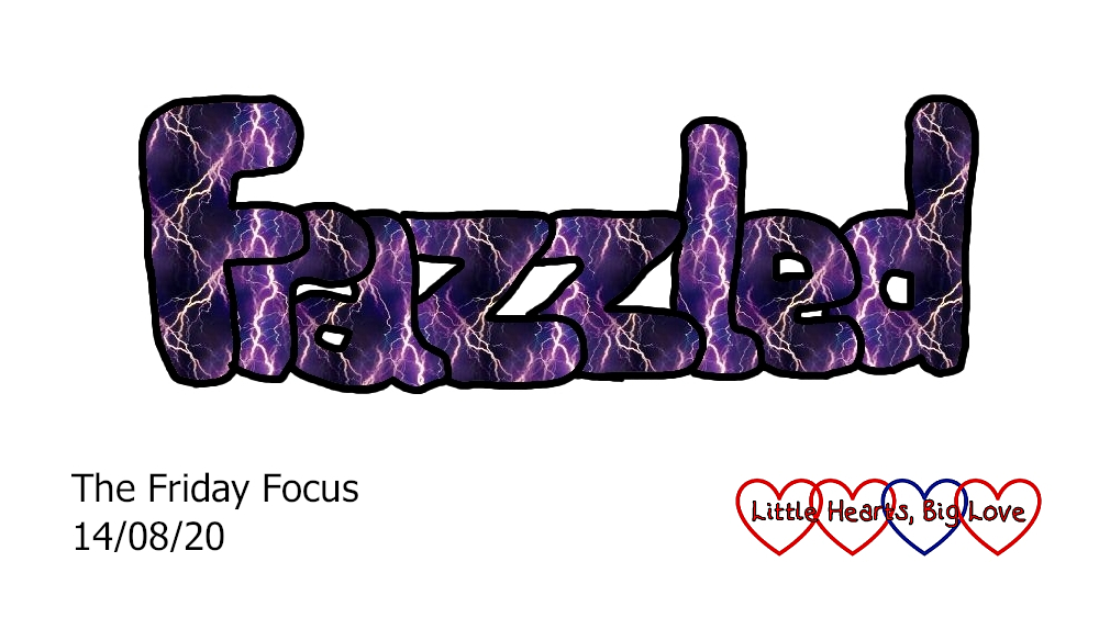 The word frazzled in purple with lightning bolts in the middle of the letters