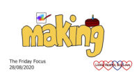 The word 'making' with a doodle of a painting above the 'ma' and a cake above the 'ng'