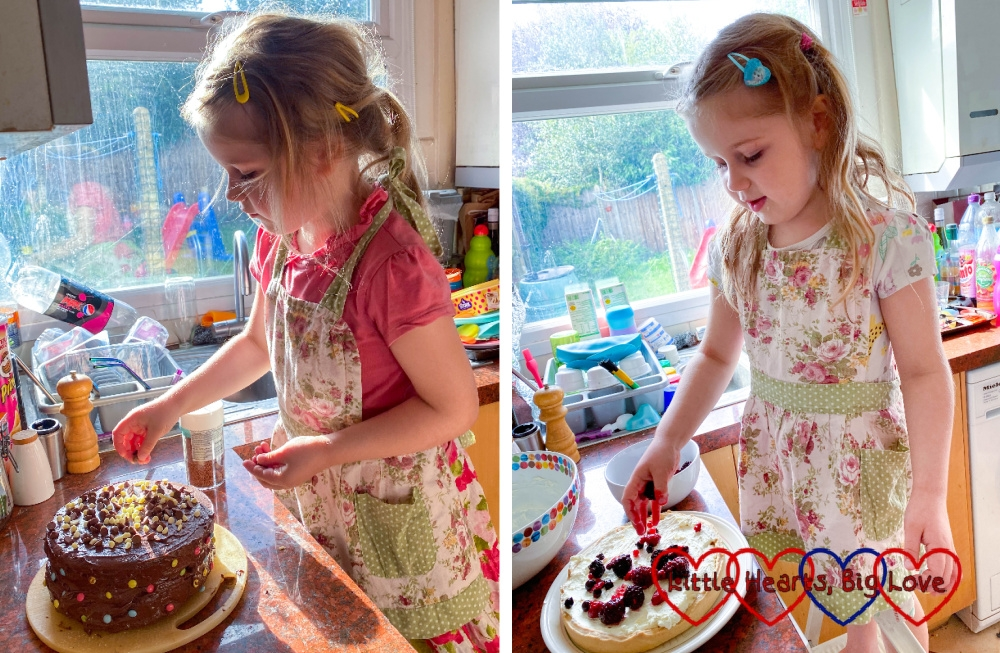 (l) Sophie decorating Daddy's birthday cake; (r) Sophie putting fruit on a fruit tart