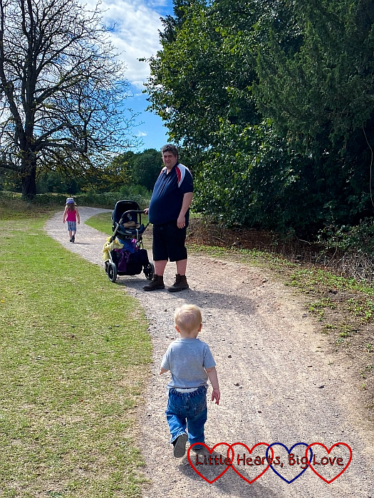 Sophie, Daddy and Thomas walking at Osterley Park