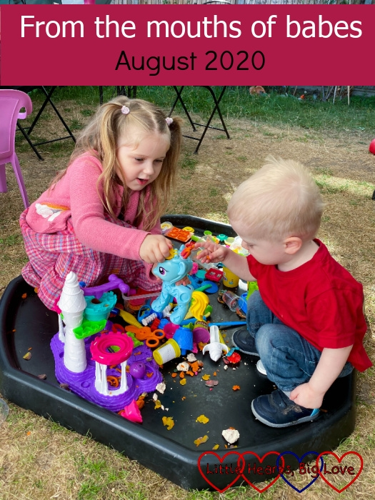 """Sophie and Thomas playing in the tuff tray in the garden - """"From the mouths of babes - August 2020"""""""