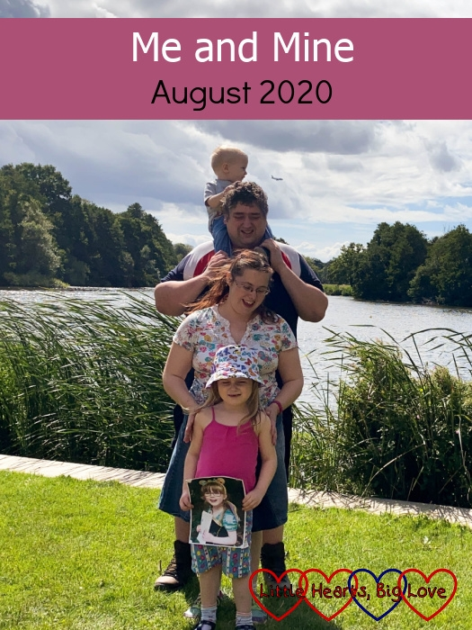 "(top to bottom) Thomas (on Daddy's shoulders), Daddy, me and Sophie (holding Jessica) standing together, one in front of the other - ""Me and Mine - August 2020"""