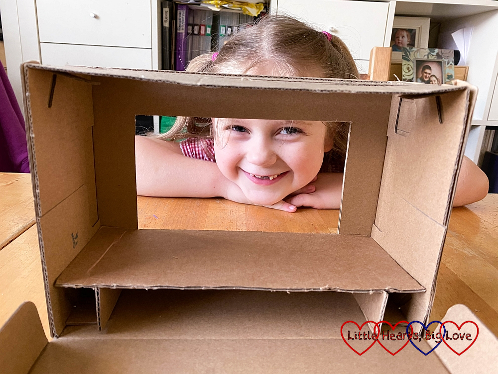 The cardboard stage in place in the shoebox