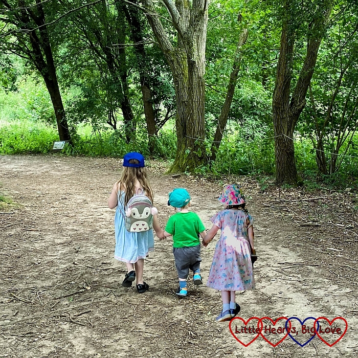 Sophie, Thomas and Jessica walking in front of me holding hands